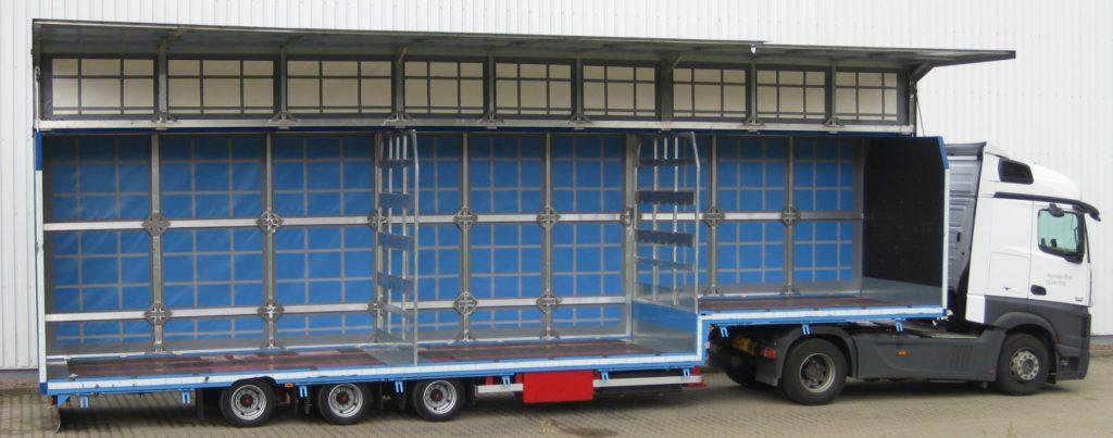 DINKEL – Jumbo-Sattelauflieger, gekröpft in Dreiachsausführung mit Schwenkwandaufbau, Typ DSAGV 39000, für den Getränketransport zertifiziert gemäß Code XL DIN EN 12642 und VDI 2700