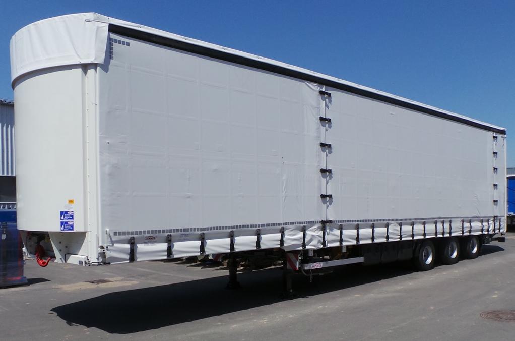 DINKEL–Mega-Sattelauflieger mit Schiebeverdeck, Hubdach und Dhollandia-Hubladebühne für Maschinentransporte, Typ DSAPPV 39000