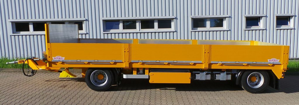 DINKEL-Zweiachs-Drehschemel-Anhänger in Spezialausführung für den Container- und Baumaschinentransport, Typ DAP 18000