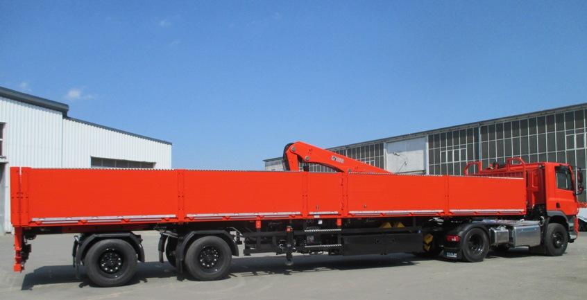 DINKEL Pritschen - Sattelanhänger für den Stahltransport in Zweiachsausführung mit Ausziehschlitten und mechanischer Zwangslenkung beider Achsen, Typ DSAPLV 32000